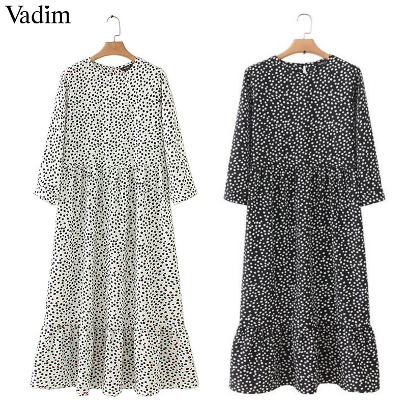 dress dots print pleated three quarter sleeve casual straight dresses chic ankle length