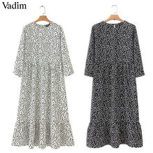 Vadim women dots print maxi dress pleated three quarter sleeve female casual straight dresses chic ankle length vestidos QB260(China)
