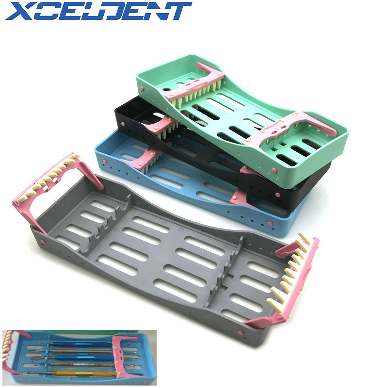 High Quality Dental Sterilization Box With 5 Holders Tips Handles Instrument Autoclavable Dentistry Tools