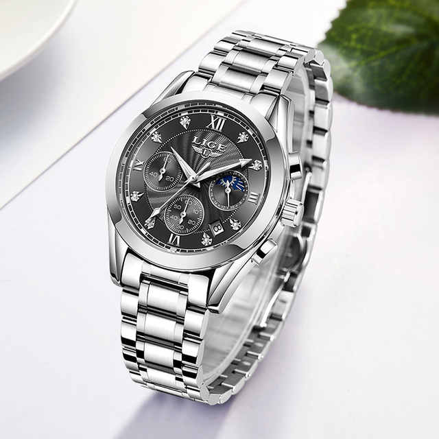 LIGE Luxury Ladies Watch Women Waterproof Rose Gold Steel Strap Women Wrist Watches Top Brand Bracelet Clocks Relogio Feminino 3