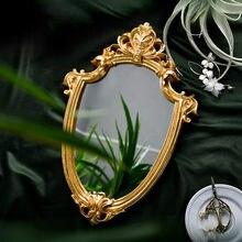 Miroir de maquillage en relief doré, style nordique rétro, lumière vieilli, décoration de luxe pour la maison, miroir de salle de bain