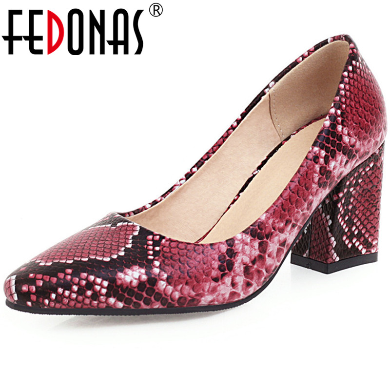FEDONAS Women PU High Heeled Pumps Snakeskin Leather Sexy Pointed Toe Brand Design Party Shoes Spring Summer Shoes Woman