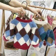 Детский свитер смешанных цветов в Корейском стиле с вырезом лодочкой; коллекция года; сезон осень-зима; стиль; пуловер для маленьких девочек; свитер