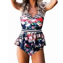 Plus Size Swimwear Women Swimsuit Sexy Tankini Set Two-piece Suits Swirly Paisley Print Padded Bandage Bathing Suit Swimdress floral padded plus size swimdress