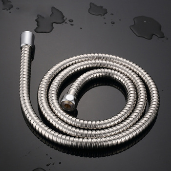 Stainless Steel Flexible Shower Hose 1m/1.2m/1.5/2m Long Bathroom Shower Water Hose Extension Plumbing Pipe Pulling Spring Tube lf15313 g1 2 m1 2 304 stainless steel braided faucet water supply flexible hose connector water plumbing hose tube transparent