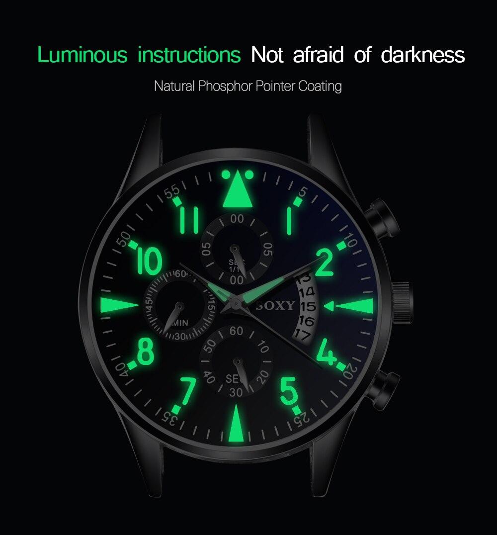 Zegarek kwarcowy Luminous SOXY zegarki męskie klasyczny kalendarz męski biznes zegarek ze stali relogio masculino popularne godziny saati 2