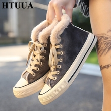 HTUUA Warm Fur Plush Flat Shoes Women Sneakers High Quality