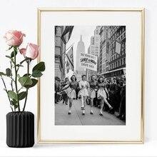 Fotografía Vintage de imprime Skate para trabajar patinaje sobre ruedas Segunda Guerra Mundial negro y blanco lienzo Poster hogar pared arte Decoración