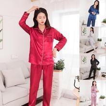 2020 neueste Frauen Silk Satin Pyjamas Set Paare Feste Farbe Langarm Nachtwäsche Anzug Plus Größe 2XL cheap SANWOOD Acrylsauer Nein Ice Silk Fabric 14025571 Eckiger Kragen In voller Länge AUTUMN