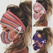 2 pçs/set mulheres impresso yoga elástico faixa de cabelo esporte faixa de cabelo botão design máscara facial vestindo acessórios de cabelo