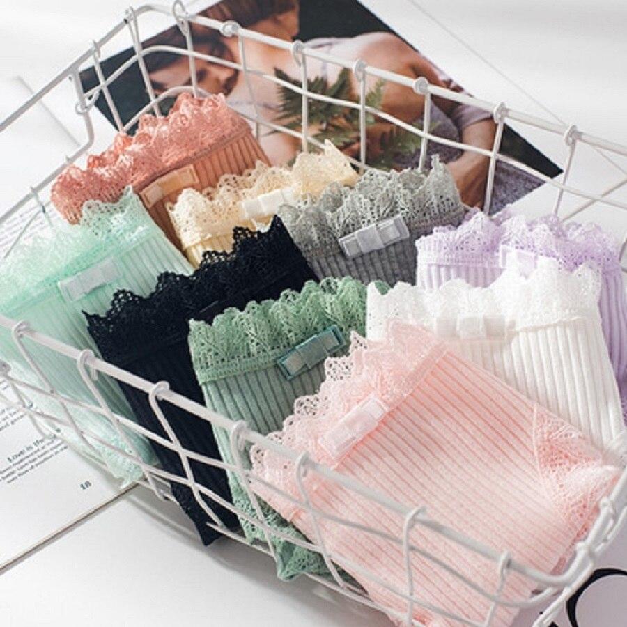 Women Thread Cotton Panties Bow Women's Underwear Solid Color Breathable Low Waist Girls Female Plus Size Lady Briefs 6
