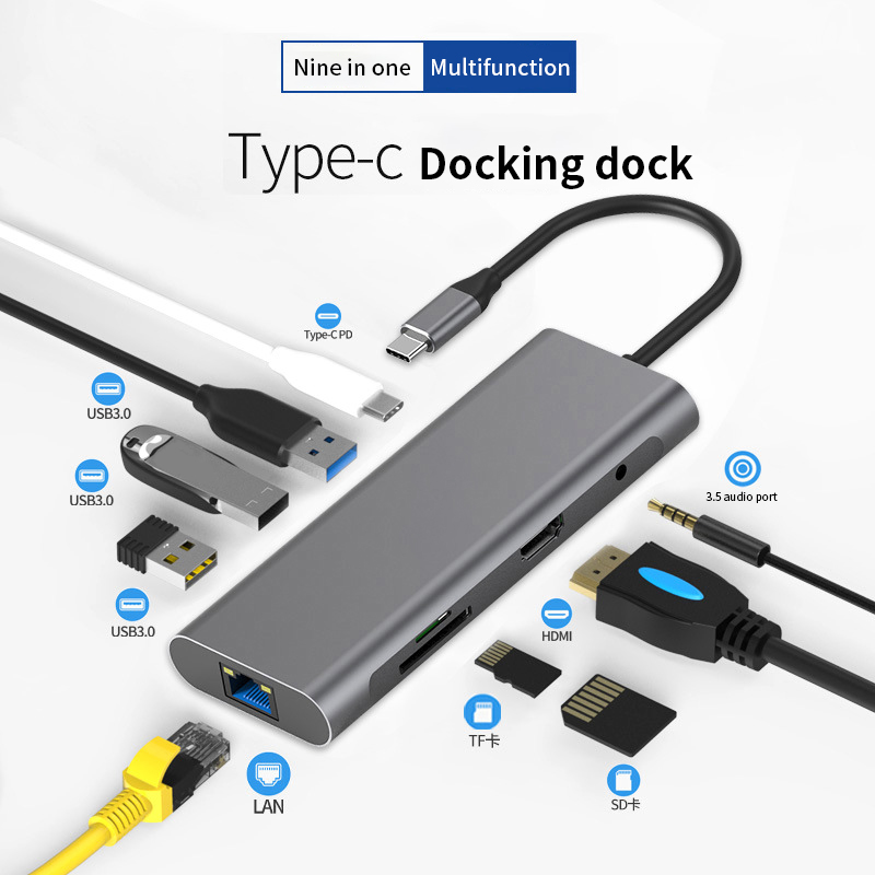 9/5/4 In One TYPE-C Docking Station Multi Function High Quality Carbon Alloy USB 3.0 HDMI For Samsung Macbook Pro DELL Surface