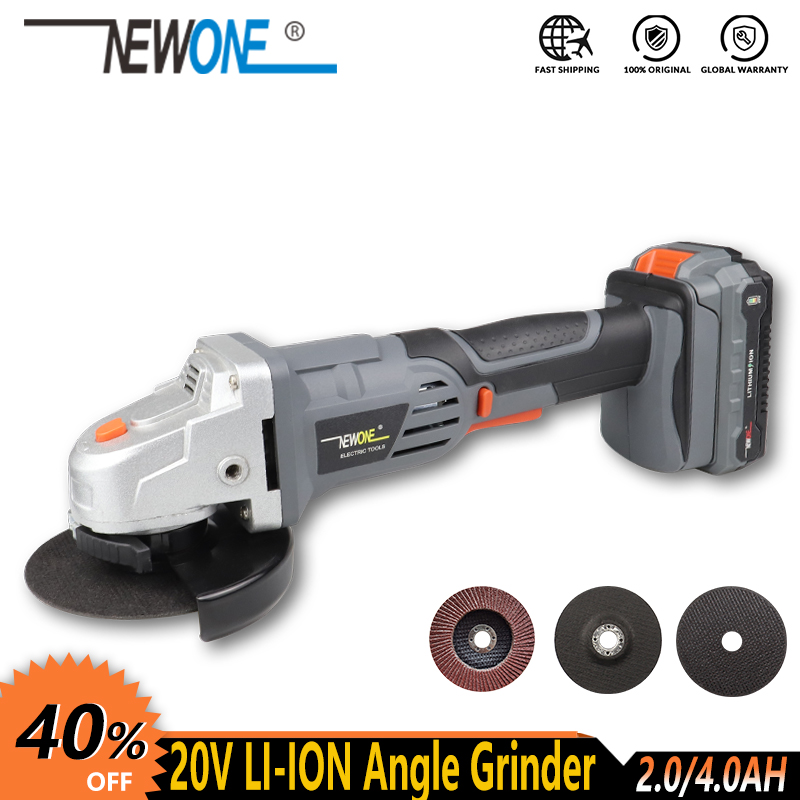 NEWONE Electric Power Tool 20V Li-ion Cordless Angle Grinder With Max.4.0AH Battery M14 Grinding Machine 115mm Wheel For Cutting