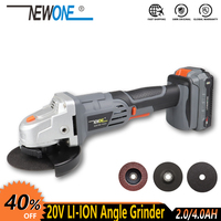 NEWONE Electric Power Tool 20V Li ion Cordless Angle Grinder with Max.4.0AH battery M14 Grinding machine 115mm Wheel for Cutting