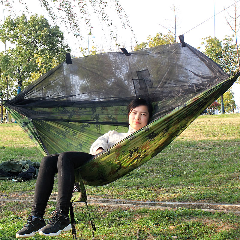 Hammock Hanging-Bed Parachute Fabric Mosquito-Net Outdoor Furniture Sleep-Swing Portable