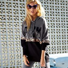 Hoodies Women Leisure Letter Printed Long Sleeve Hooded Womens Pullover Leopard Strip Sweatshirts women Autumn2019