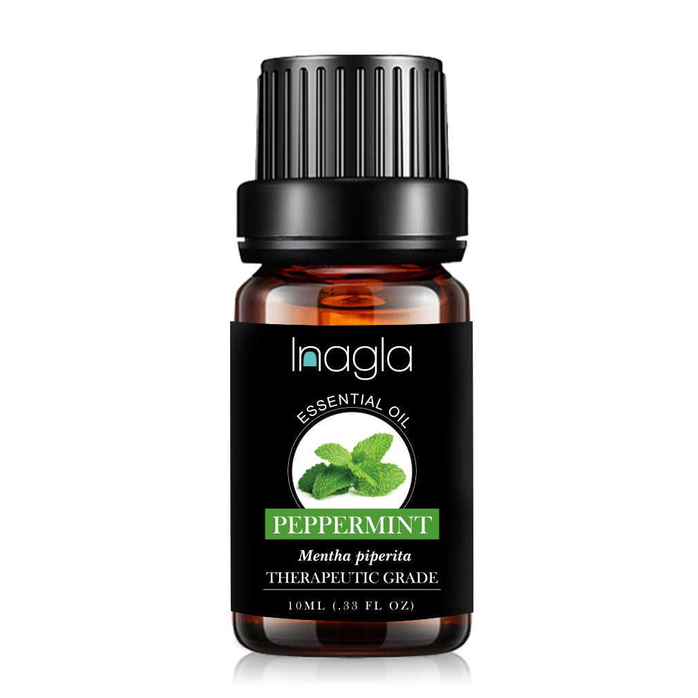 Inagla น้ำมันหอมระเหย Peppermint ธรรมชาติบริสุทธิ์ 10ML น้ำมันหอมระเหย Diffusers น้ำมันบรรเทาความเครียด Mint Air สด