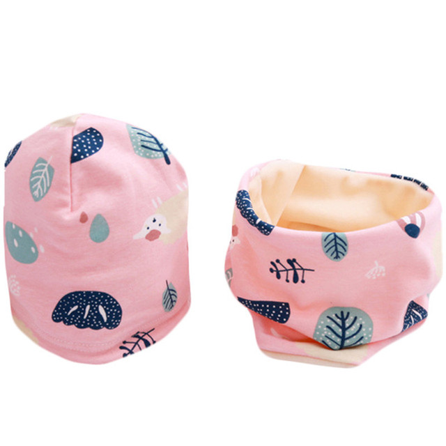 Cartoon Printed Baby's Cotton Hat and Scraf Set 4