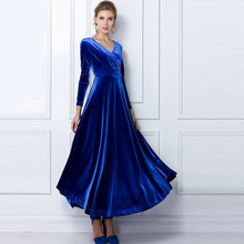 Womens Sheath Elegant Long Sleeve Dresses Maxi Solid Colored Spring Autumn V Neck Party Vintage Pleuche Large Pendulum Gorgeous