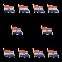 10PCS Waving Croatia Country Flag Made of Metal Clothes/Hat/Bag Brooch Lapel Pins Set 10pcs cuba flag country waving 3d lapel pins