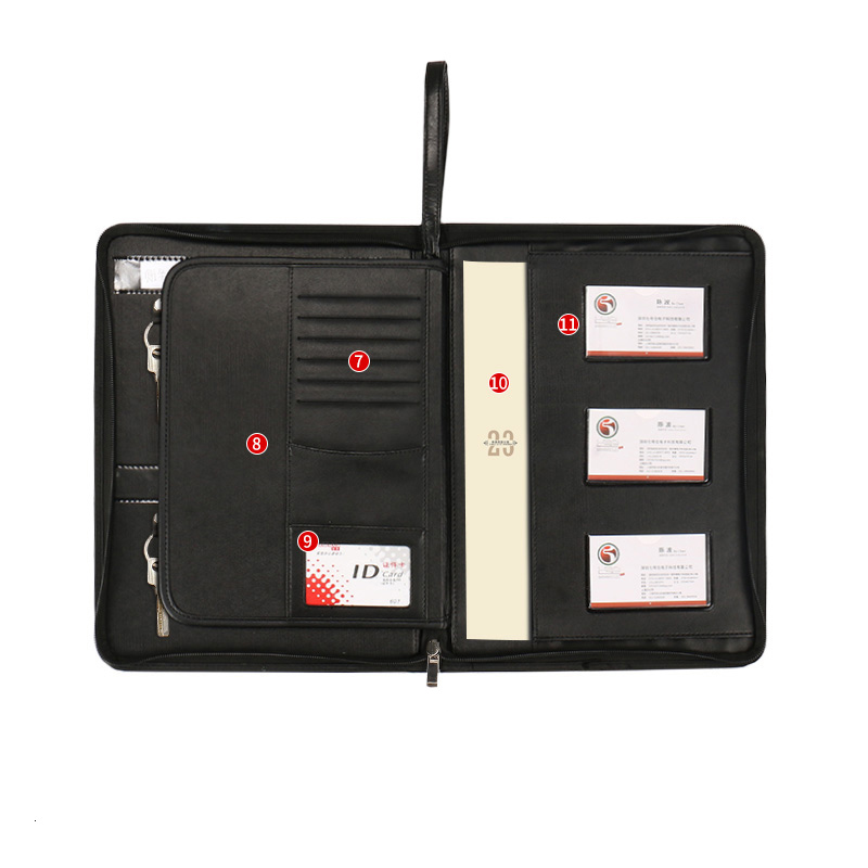 Multifuctional PU leather real estate sales A4 folder padfolio manager bag with zipper key hooks menus card organizer holder