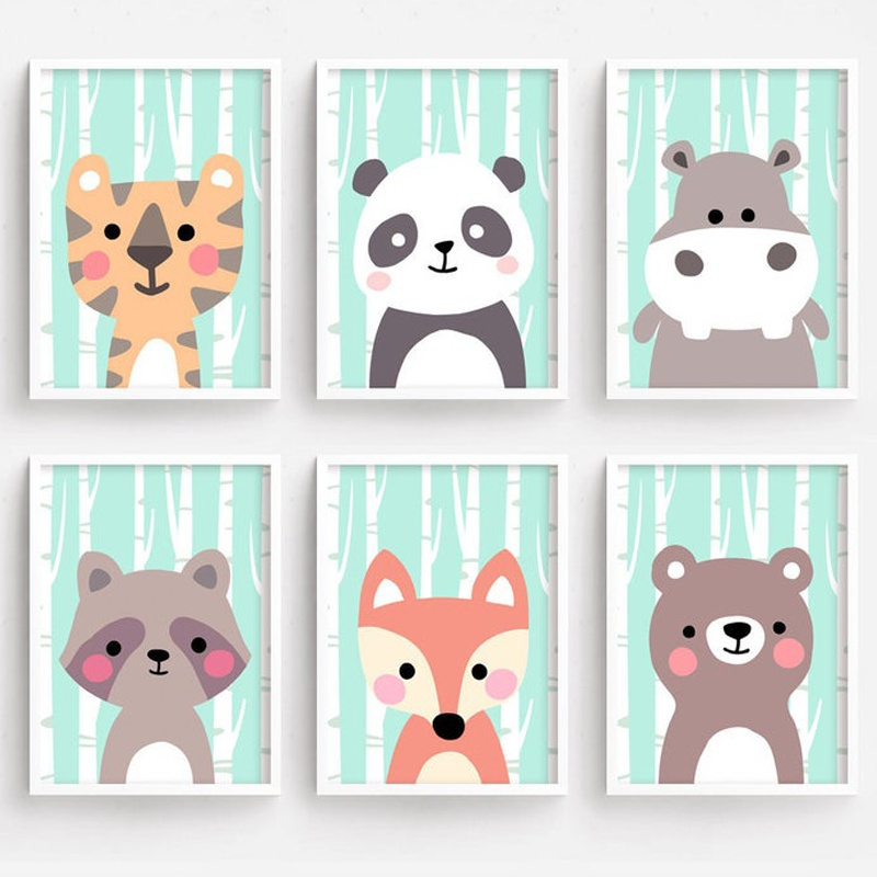 Bear Panda Raccoon Fox Hippo Tiger Nordic Posters And Prints Nursery Wall Art Canvas Painting Pictures Baby Kids Room Decor