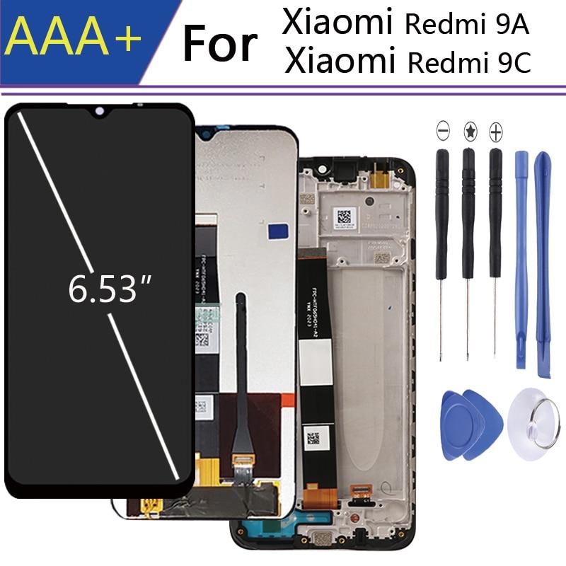 Para 6.35 Polegada xiaomi redmi 9a display wint quadro da tela de toque para xiaomi redmi 9c display lcd no telefone móvel lcds pantalla