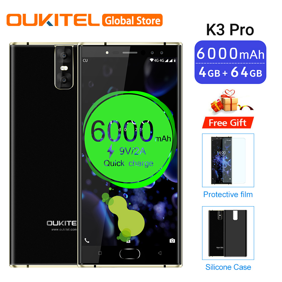 "Oukitel K3 Pro 5.5""Dual 2.5D Screen MT6763 Octa Core 4GB 64GB 6000mAh Smartphone 4 Cameras 13MP+2MP Dual Camera Mobile Phone"