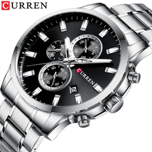 CURREN Silver Black Men Business Sport Watch 6 Hands Date Chronograph Stainless Steel Quality Belt Military Quartz Wrist Watches все цены