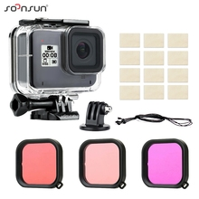 SOONSUN 45M Waterproof Protective Housing Underwater Diving Case with Dive Color Lens Filters for GoPro Hero 8 Black Accessory