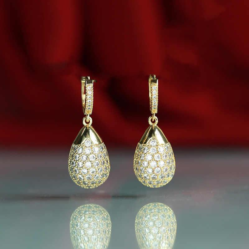 Nuevos pendientes de borla de mecha Dolly pueden columpiarse joyería de boda aristocrática de moda de las señoras 585 oro rosa circonita natural bohemios