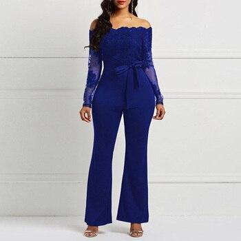 Blue Elegant Off Shoulder Floral Lace Jumpsuit Evening Dress Long Sleeves Sheath Wedding Party Formal Dresses