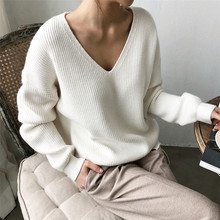 Casual Cashmere Jumper Sweater Women Long Sleeve Slim Fit V-neck Pure Sweaters Autumn Winter Solid Ladies Knitted Pullover Tops ronnykise knitted sweaters women fashion pullovers long sleeve sexy v neck casual tops autumn and winter cashmere sweater