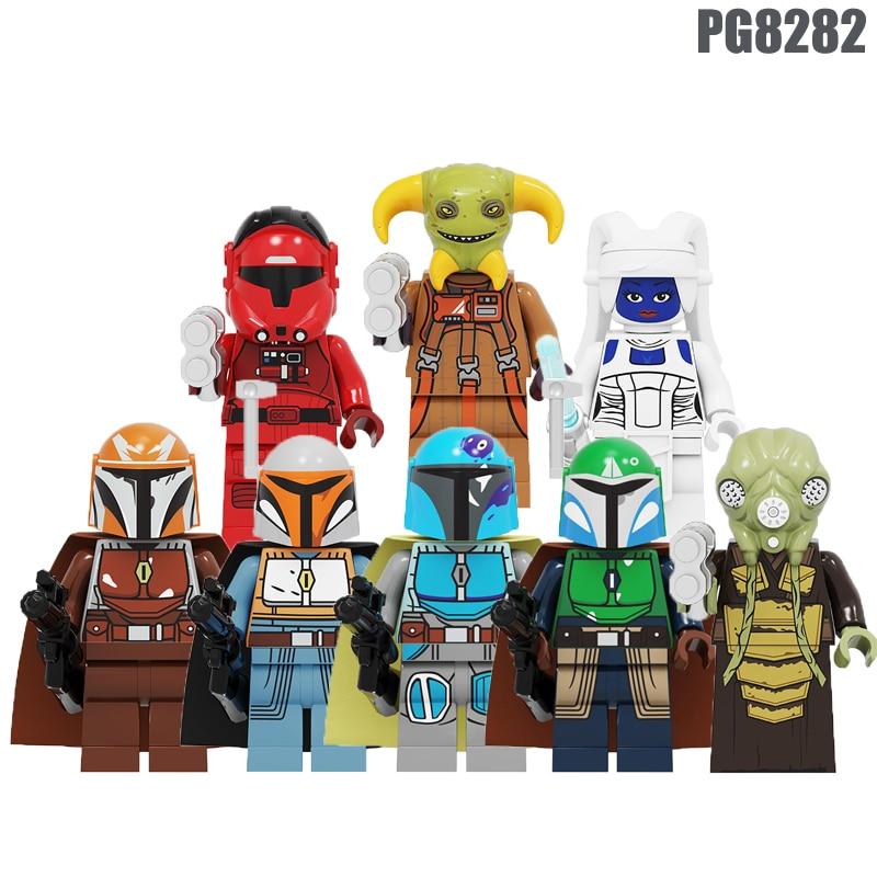 20Pcs Building Blocks Wars Movie Zakus Bounty Hunter Ella Secure Bai Li Mandalorian Yoda Figures For Children Model Toys PG8282