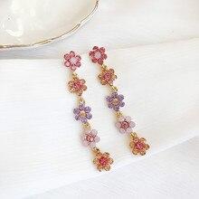 2019 New Fashion Zinc Alloy Trendy Women Dangle Earrings Jewelry  Coloured Flower Tassel Long Female Elegant