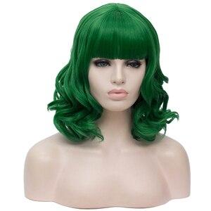 Image 5 - MSIWIGS קצר בובו קוספליי פאות ורוד עם פוני אישה סינטטי שיער פאות כחול ירוק