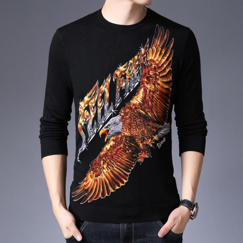 Fashion Vintage Sweater Men Winter Casual Knit Pullover Heren Sweater Feel Free Eagle Print Sweater For Men O-neck Pattern