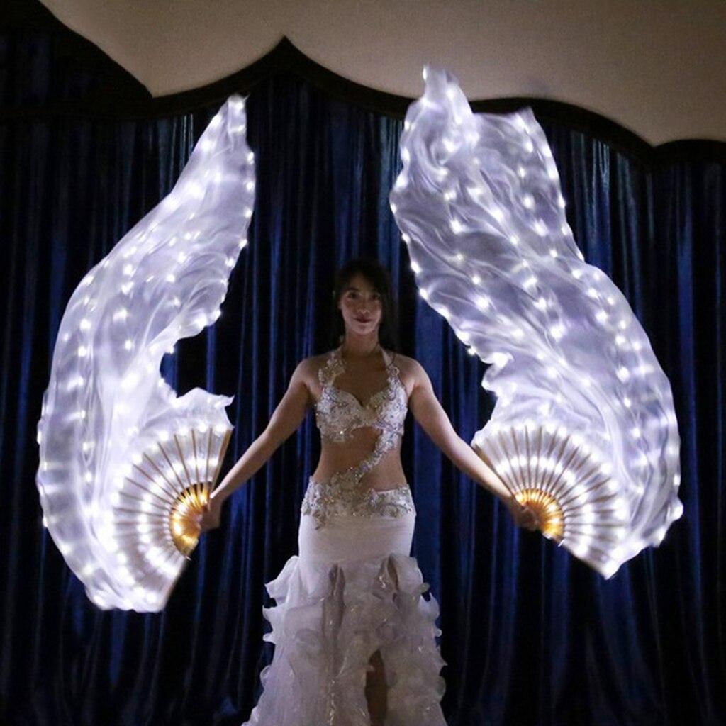 180cm ventaglio di seta bianco velo lungo ventilatore di danza del ventre veli a ventaglio a LED per sinistra