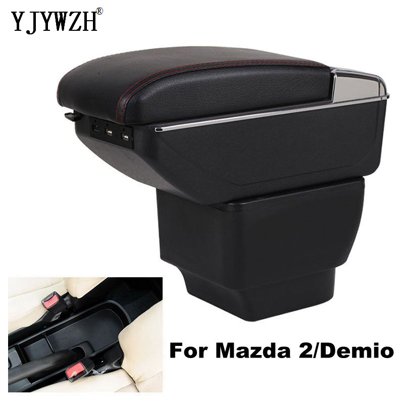Armrest box For Mazda 2/Demio USB Charging heighten Double layer central Store content cup holder ashtray accessories|Armrests| |  -