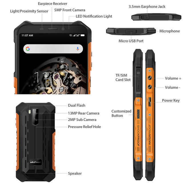 Ulefone Armor X5 MT6763 Octa core ip68 Rugged Waterproof  Smartphone Android 9.0  Cell Phone 3GB 32GB NFC  4G LTE Mobile Phone 3