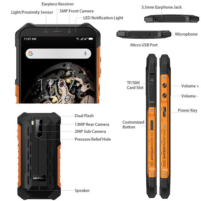 Ulefone Armor X5 IP68 3GB 32GB NFC  4G LTE Mobile Phone