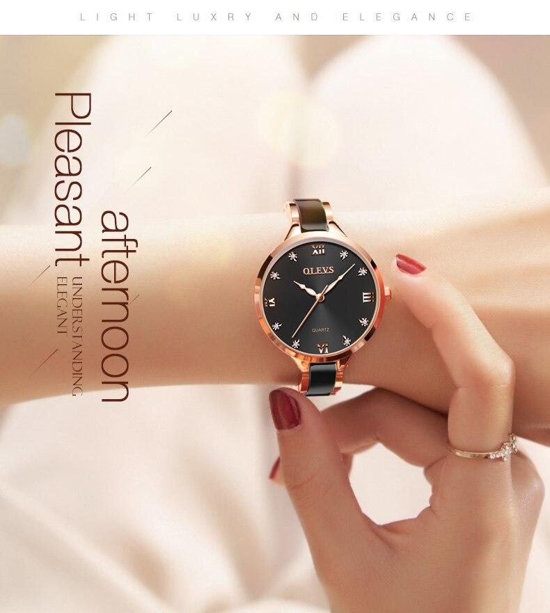 OLEVS relógio feminino cerâmica concha dial com
