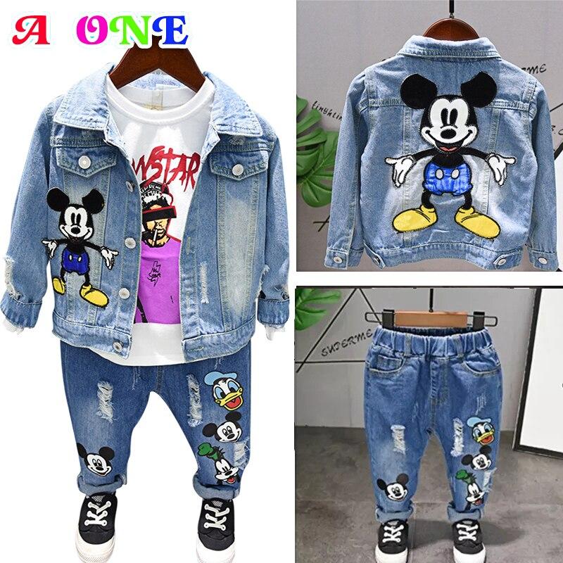 Autumn Spring Cartoon Mickey Duck Print Ripped Baby Boys Denim Jacket +jeans Boys Girl 2 Pcs Set Kids Suit For Children 2-7 Yrs