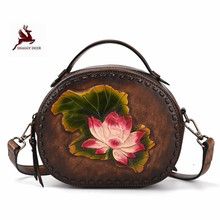 Handmade quality single Shoulder fashion Womens Bag Hand-polished luxury first layer leather handbags