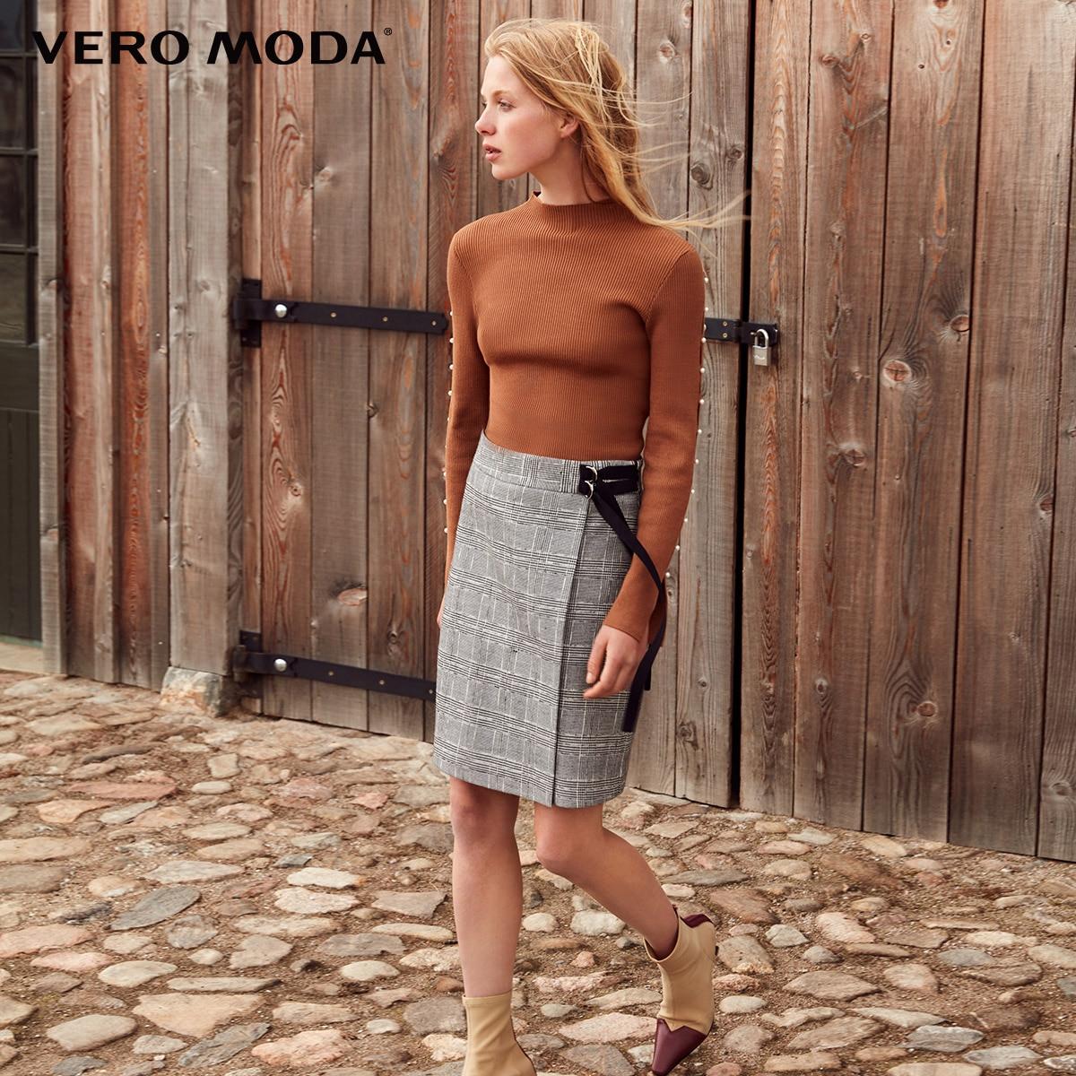 Vero Moda Women's Decorative Ribbon Houndstooth Skirt | 319116525