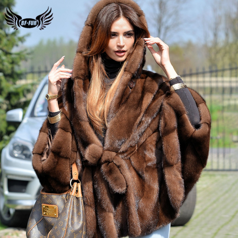 BFFUR 2019 Female Real Mink Fur Coat Full Pelt Bat Sleeved Mink Fur Coats Winter Natural Fur Women Luxurious Jacket Customized