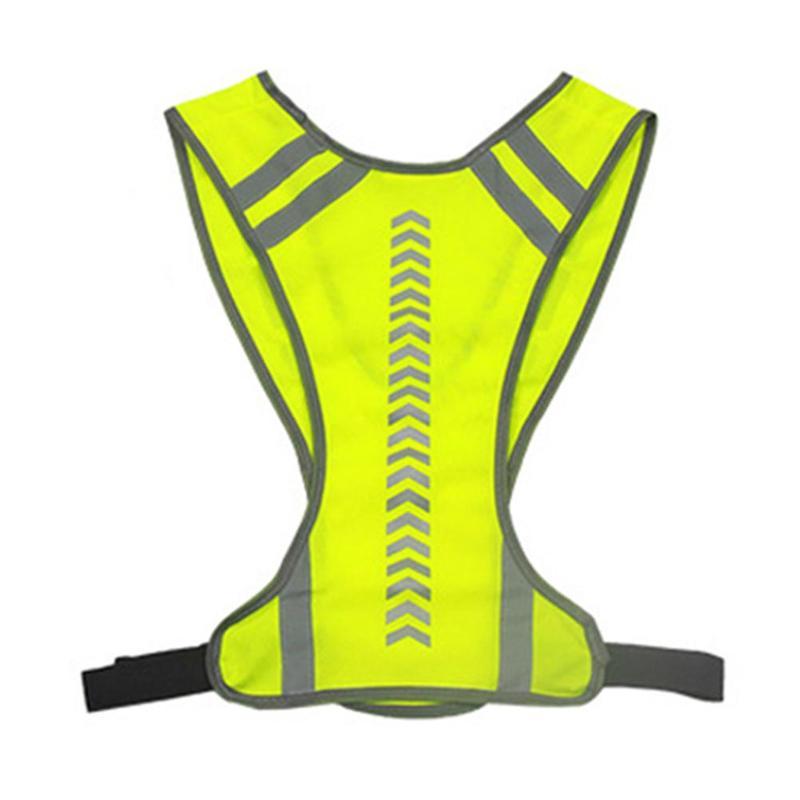 Outdoor Reflective Vest High Pocket Visibility Breathable Adjustable Belt Night Running Bike Sport Arrow Guide