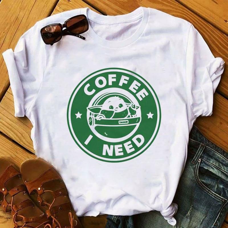 Women 2020 Cartoon Cute Star Wars Baby Yoda Coffee Short Sleeve Tops Tshirts Shirt Tee Clothes Graphic T Female Womens T-Shirt