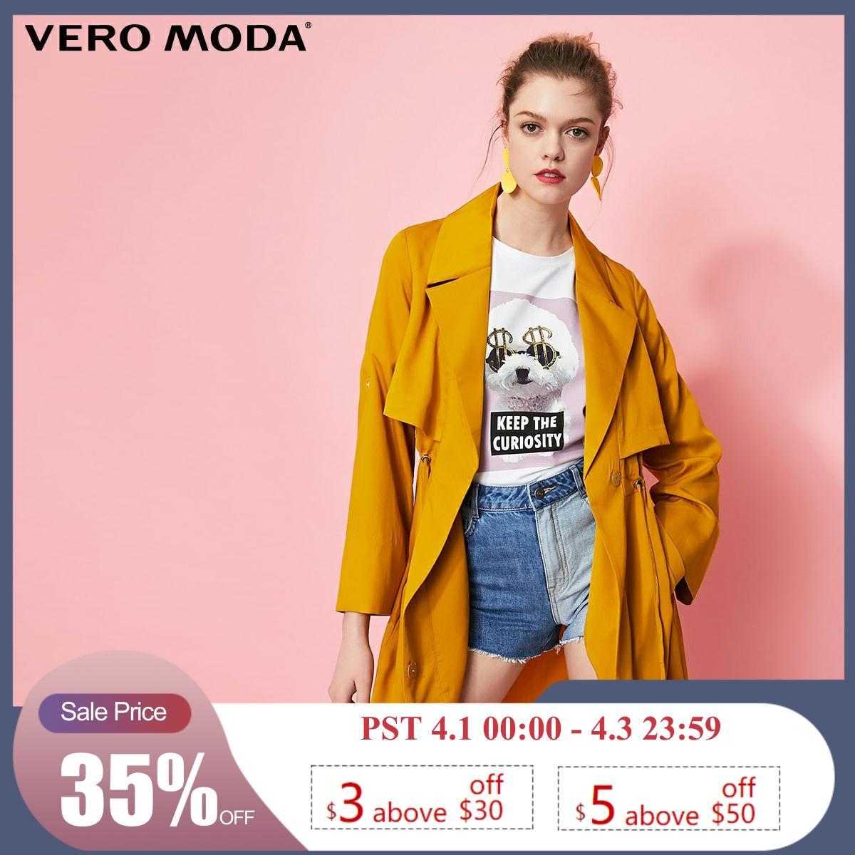 Vero Moda Women's Decorative Pockets Lapel Lace-up Trench Coat | 319121503