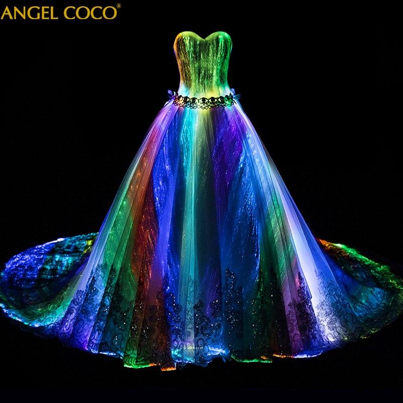 Romantic Customized Night Glow In Dark Luminous Wedding Dress Annual Dinner 7 Variable Color Rainbow Model Fashion Runway Show(China)